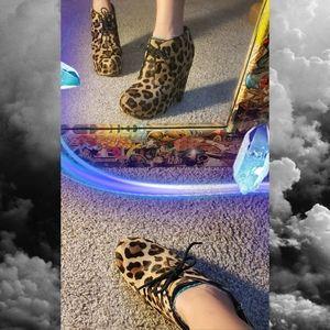 Shoes - Steve Madden Pony Hair Platform Booties Cheetah